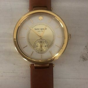 Kate Spade Gold and Camel Leather Watch